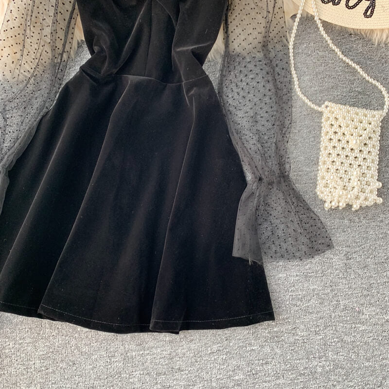 BLACK VELVET BUBBLE DRESS BY71173