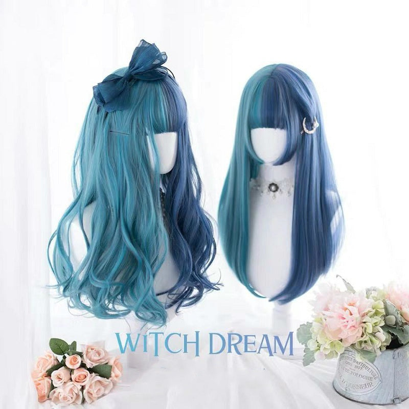 BLUE GREEN STITCHING LONG CURLS WIG BY31120
