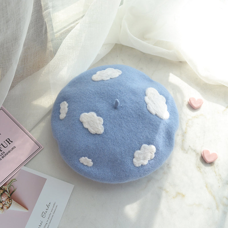 BLUE SKY WHITE CLOUDS BERET HAT BY51012