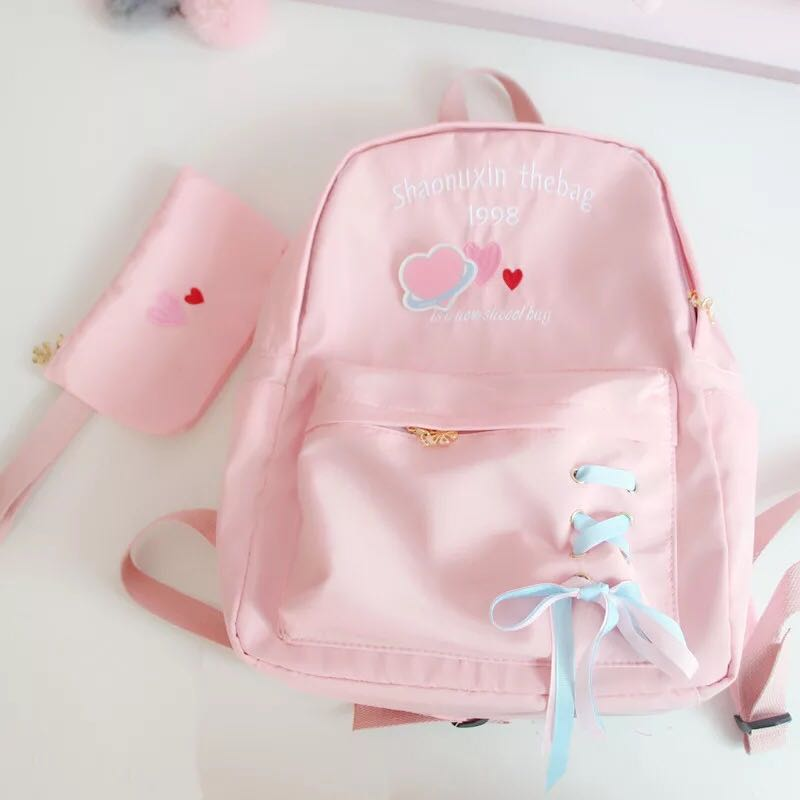 CHIC LOVE LETTER EMBROIDERY BACKPACK