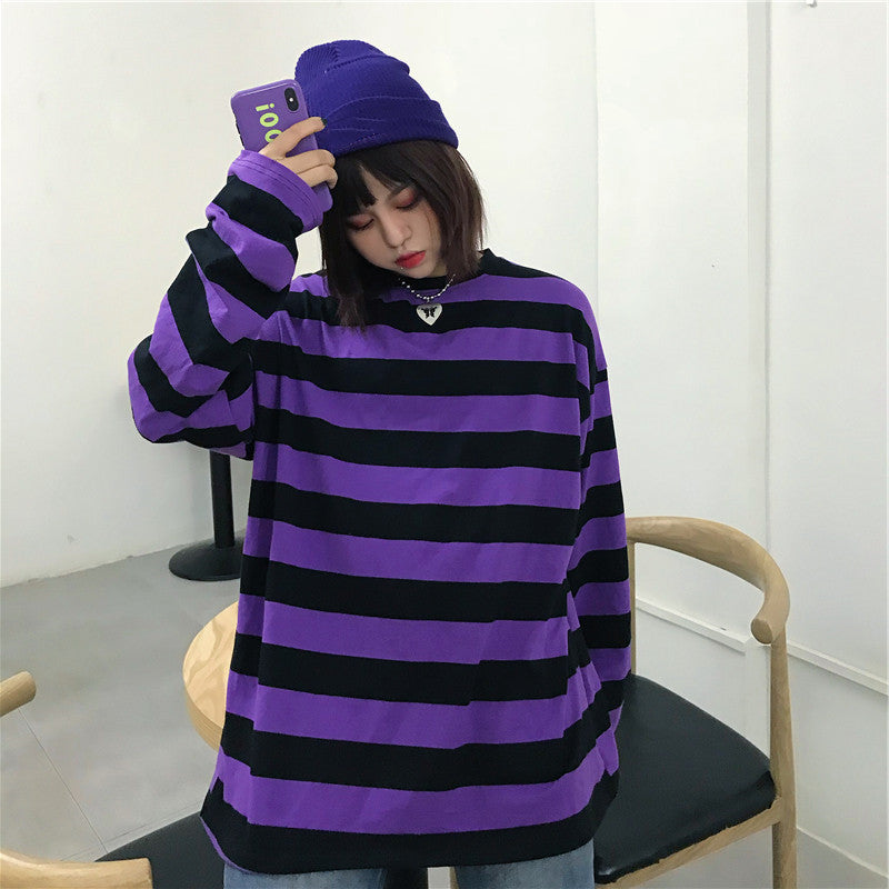 CHIC PURPLE STRIPE LONG-SLEEVE T-SHIRT BY22473
