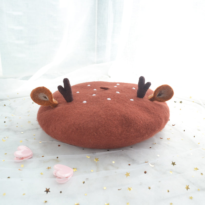 CUTE ANTLER EARS CHRISTMAS BERET BY51016