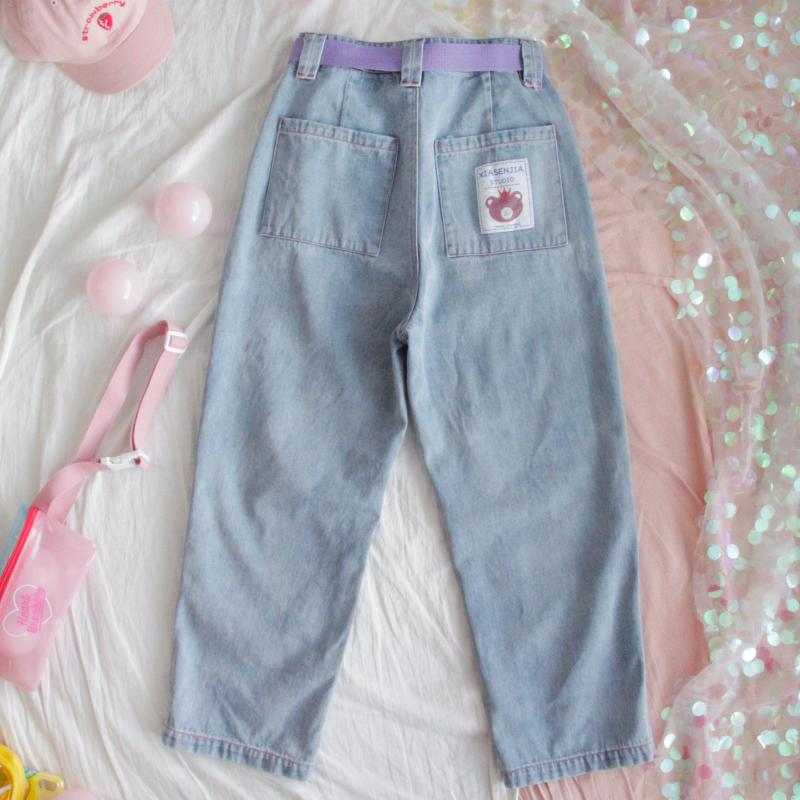 CUTE BEAR LOOSE HIGH WAIST JEANS PANTS BY63029