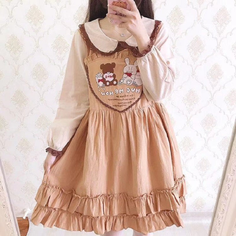 CUTE BEAR & BUNNY EMBROIDERY DRESS BY71124