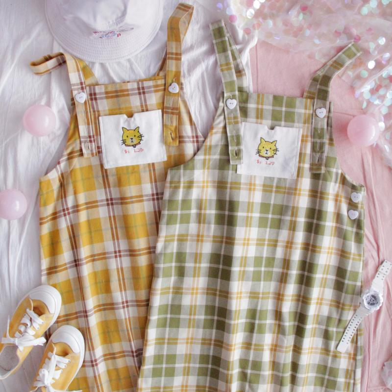 "CUTE ""CAT EMBROIDERY""CHECKED STRAP DRESSES BY71054"