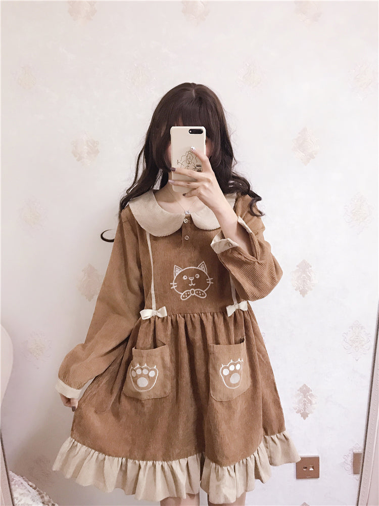 CUTE CAT EMBROIDERY CORDUROY DRESS BY71115