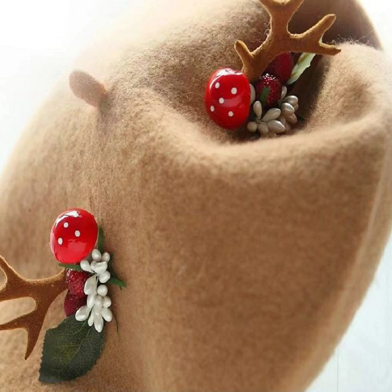 CUTE CHRISTMAS ANTLERS WOOLLEN BERET HAT BY51037