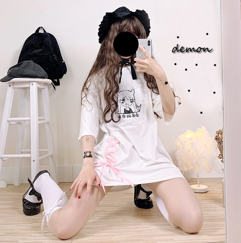 CUTE DEMON GIRL LACE LOOSE MEDIUM-LENGTH T-SHIRT BY22339