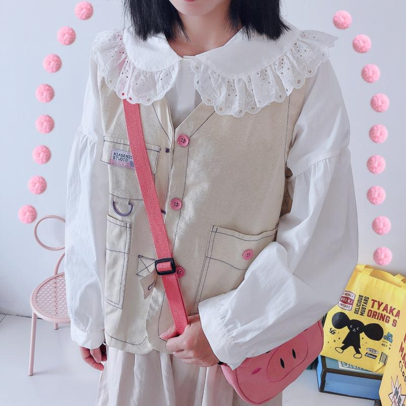CUTE DOLL COLLAR BEAR EMBROIDERY SHIRT BY22373