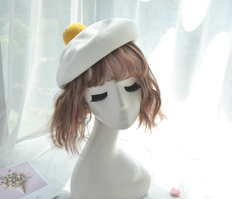 CUTE HANDMADE YOLK BERET HAT BY51003