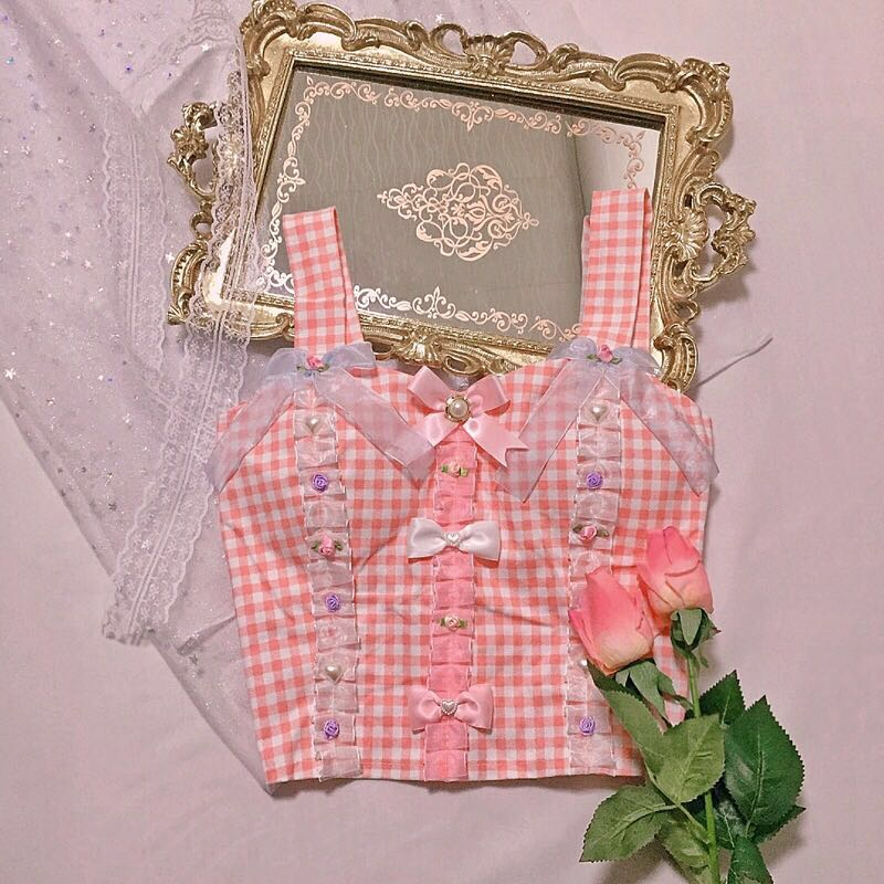 CUTE LACE BOW GRID VEST BY22029