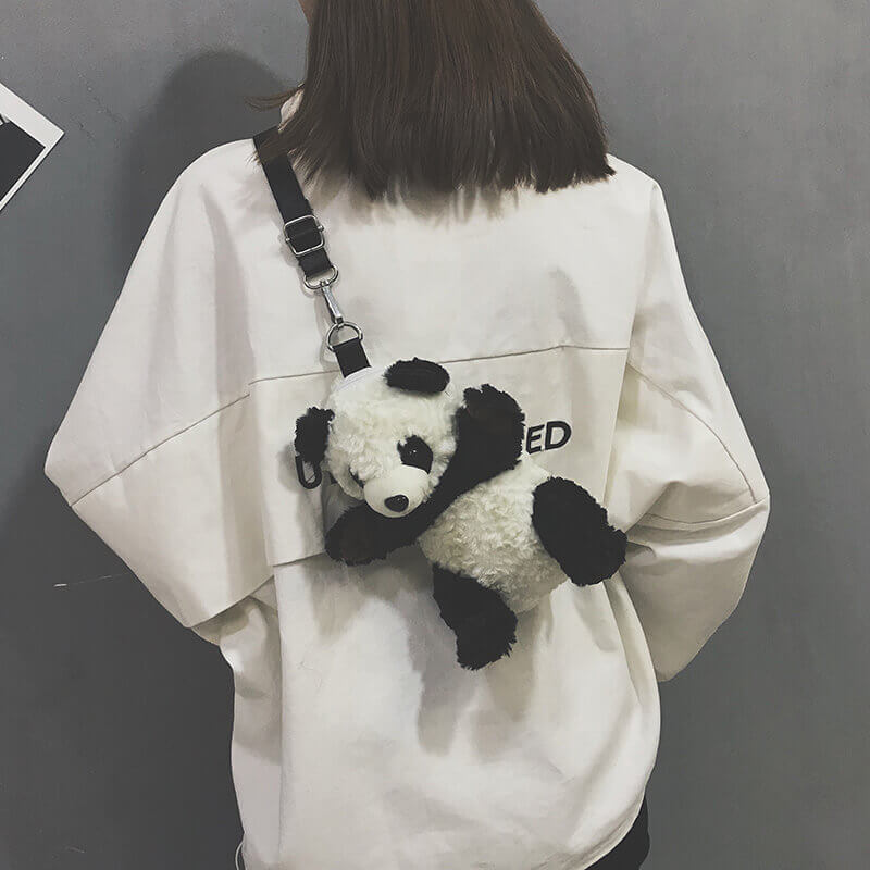 CUTE PANDA VELVET SHOULDER BAG BY00007