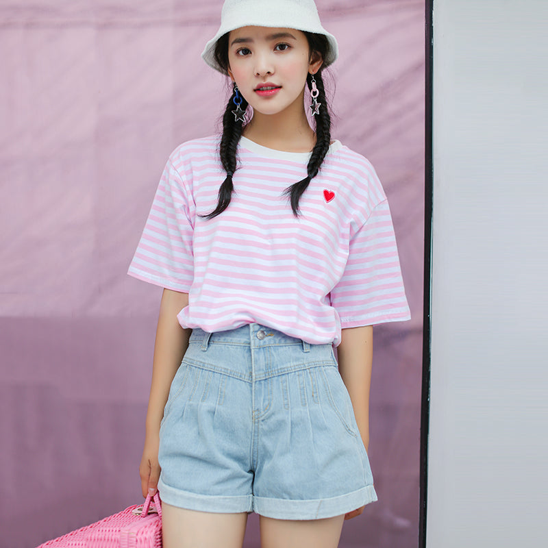 CUTE PINK STRIPE T-SHIRT BY22043