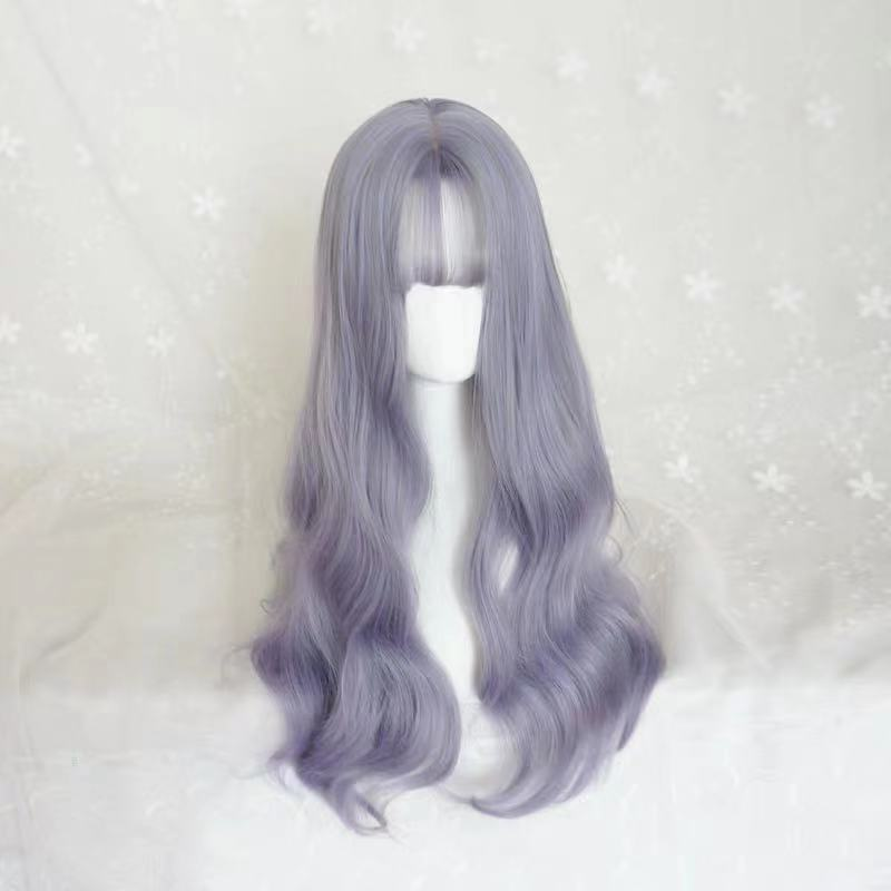 CUTE PURPLE GREY LONG ROOL WIG