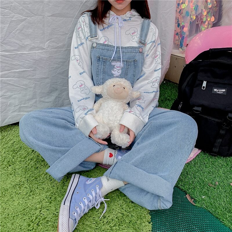 CUTE SHEEP WIDE-LEG OVERALLS PANTS BY63141
