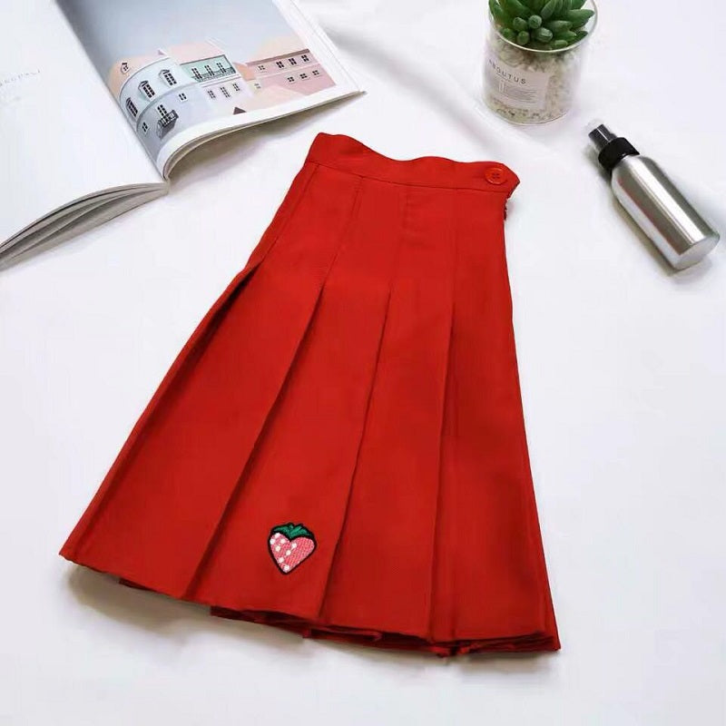 CUTE STRAWBERRY PLRATED SKIRT BY61003