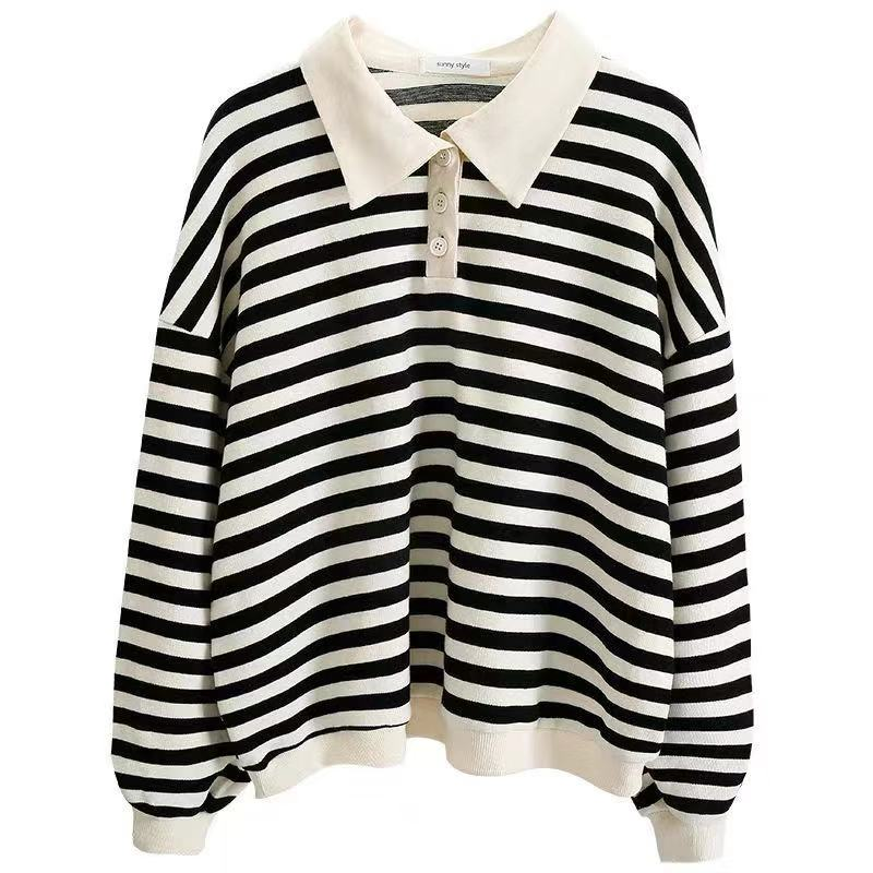 CUTE STRIPE POLO SWEATSHIRT BY23034