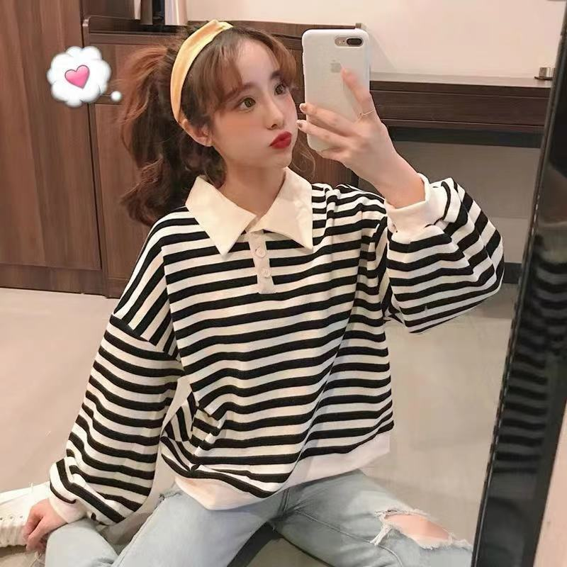 CUTE STRIPE POLO HOODIE BY23034