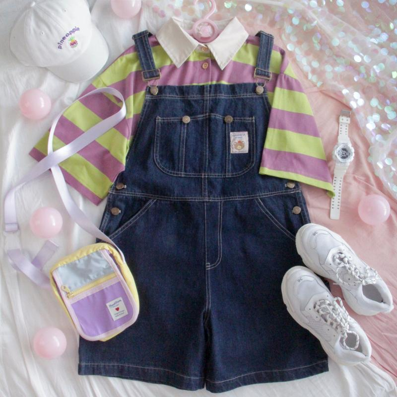 CUTE STUDENT LOOSE JEANS STRAP OVERALLS SHORTS BY62020