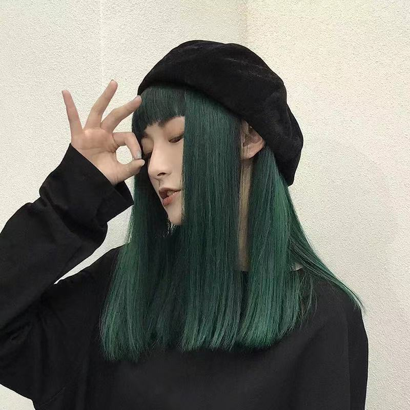 DARK GREEN MEDIUM LONG STRAIGHT WIG