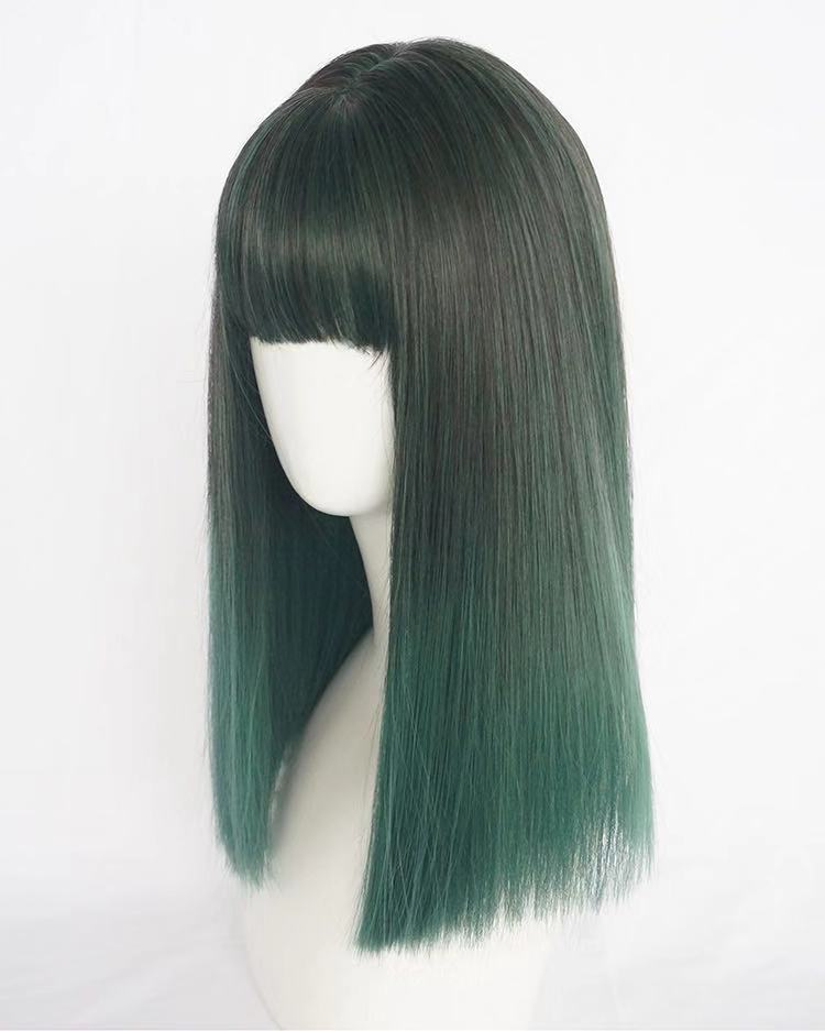 DARK GREEN MEDIUM LONG STRAIGHT WIG BY31153