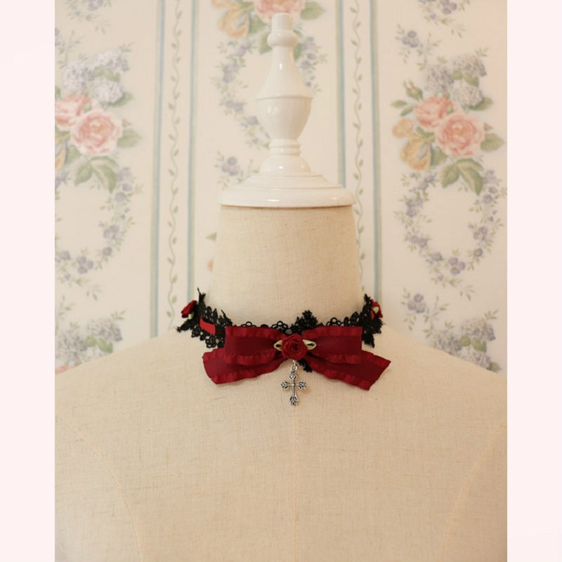 DARK LOLITA ROSE LACE CROSS CHOKER BY13010