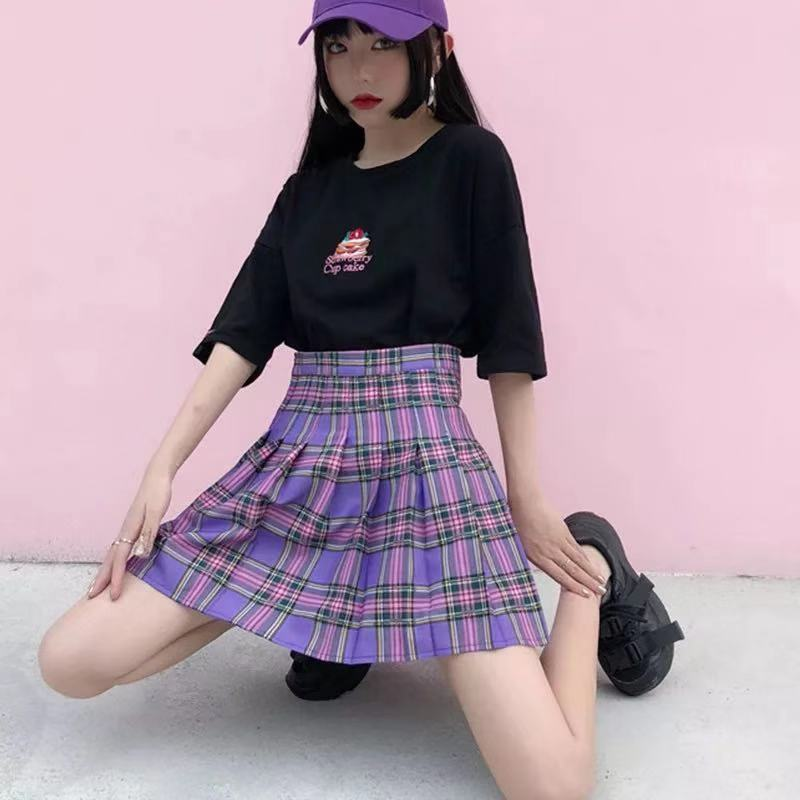 [M-4XL] ELASTICATED HIGH WAIST PLAID SKIRT BY61016