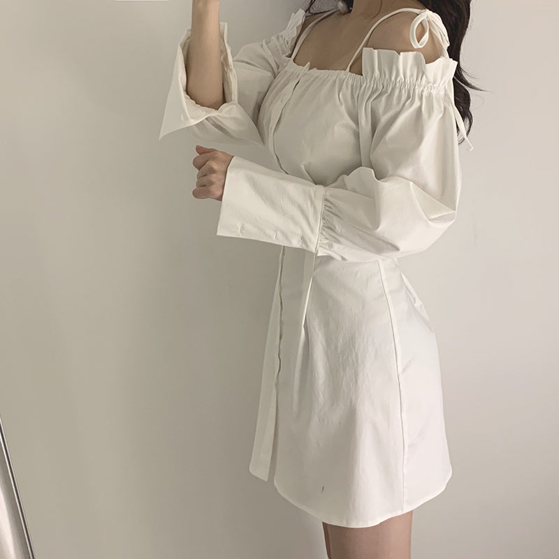 FASHION OFF-SHOULDER SHIRT DRESS BY71133