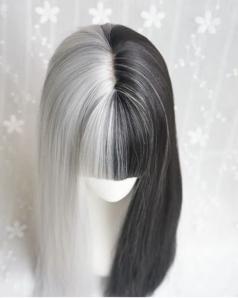 GOTHIC AIR BANGS BLACK GOLDEN LONG STRAIGHT WIG BY31007