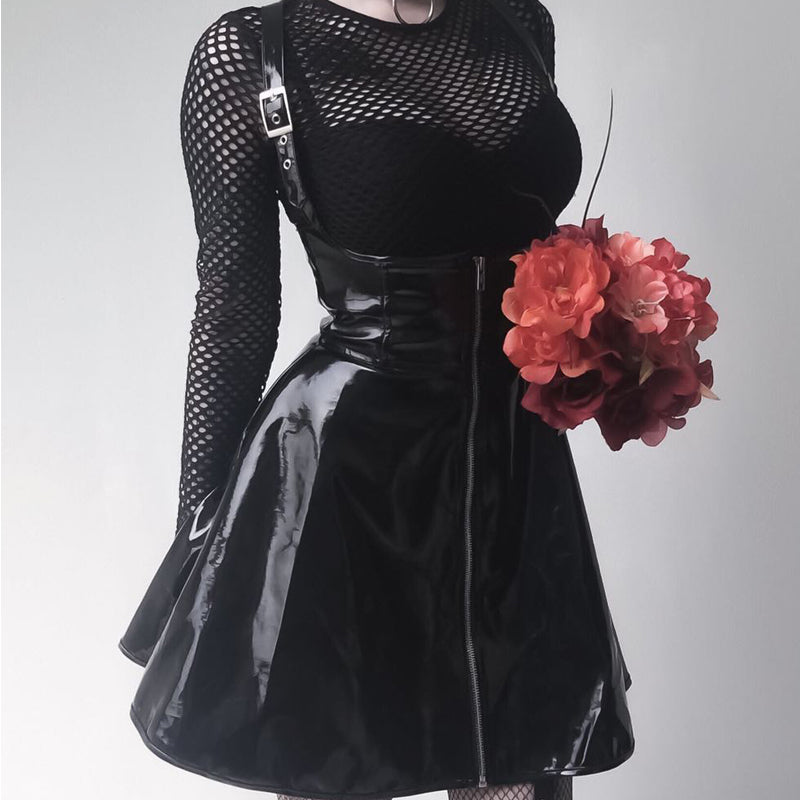 GOTHIC BLACK ZIPPER DRESS BY71119