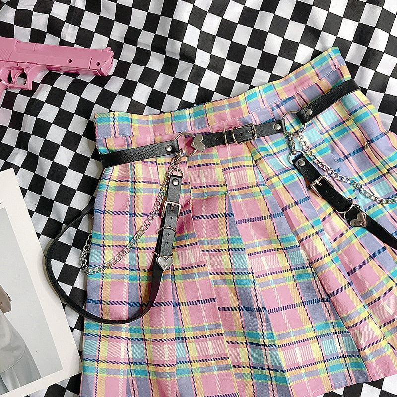 GRADUAL PINK CHECKER JK PLEATED SKIRT+BELT BY61024