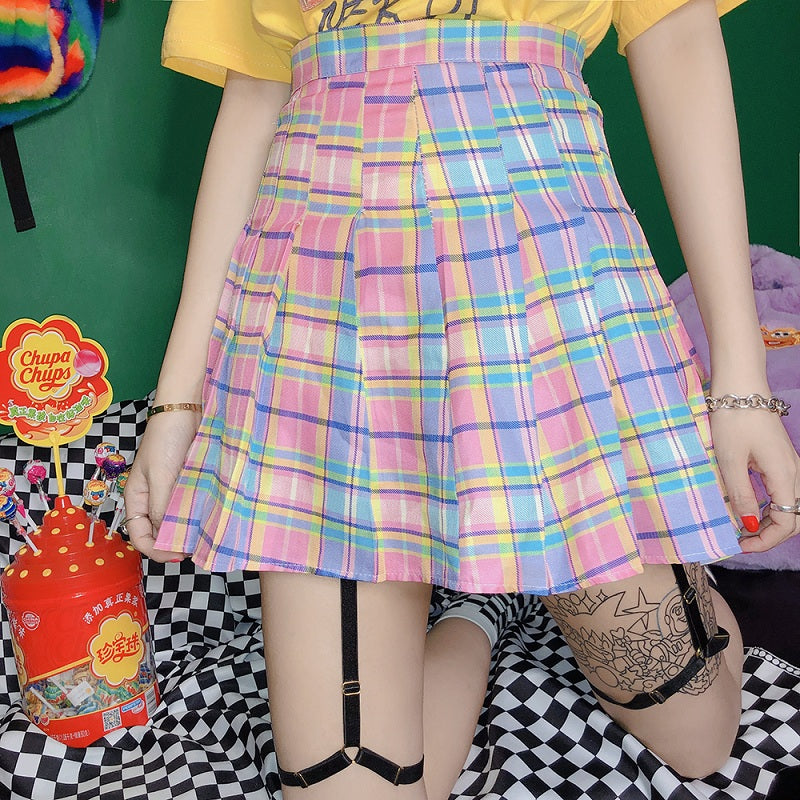 GRADUAL PINK CHECKED JK PLEATED SKIRT+BELT BY61024