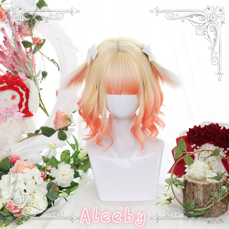 HARAJUKU LOLITA ''MILK TEA BUNNY'' IRREGULAR SHORT CURLS WIG BY51406
