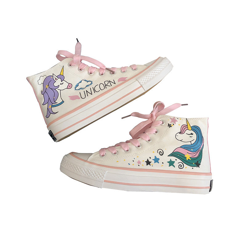 HARAJUKU CARTOON UNICORN PINK CANVAS SHOES BY81010
