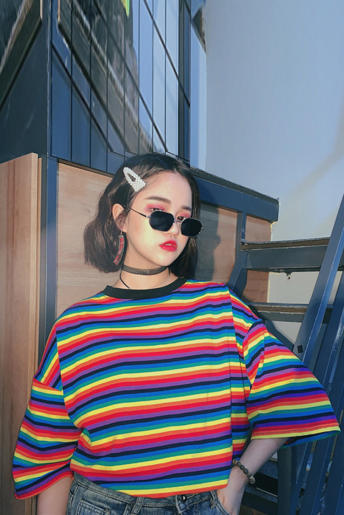 HARAJUKU KOREANSTYLE ULZZANG RETRO RAINBOW STRIPE SHIRT BY22094