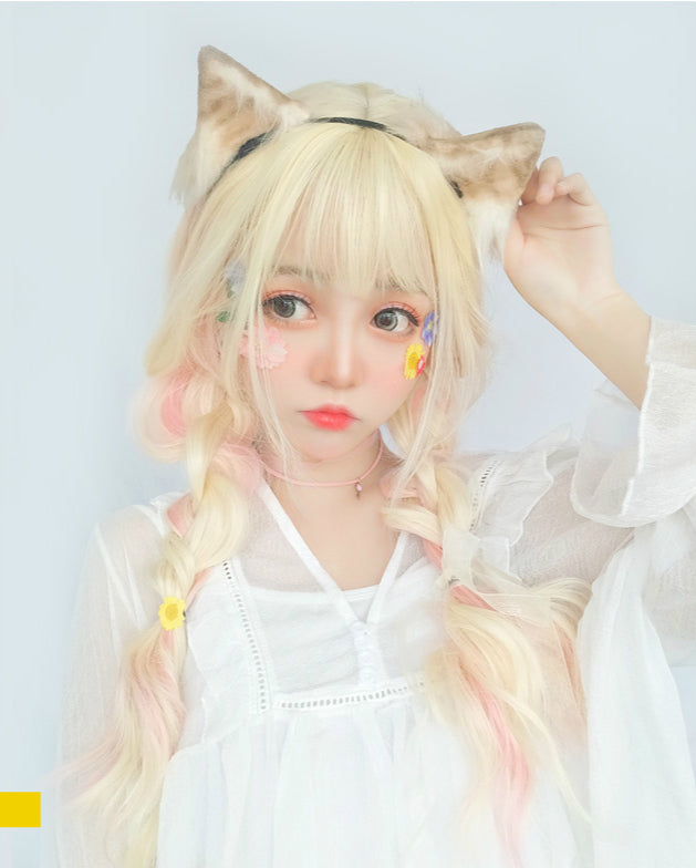 HARAJUKU LOLITA GRADIENT GOLDEN COS BIG WAVE WIG BY31021