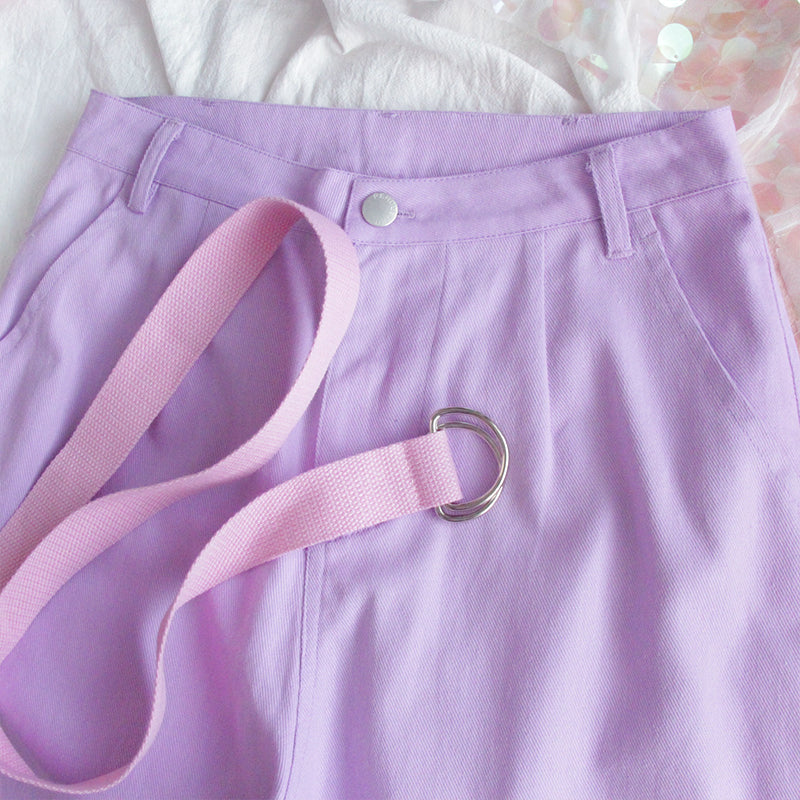 HARAJUKU LOOSE PURPLE HIGH WAIST CASUAL PANTS BY63066
