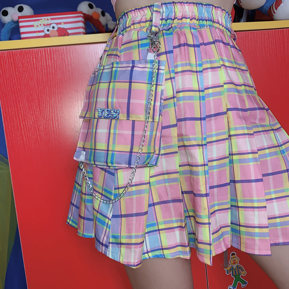 2019 SUMMER HARAJUKU POCKET CHAIN GRADUAL CHECKED SKIRT BY61051