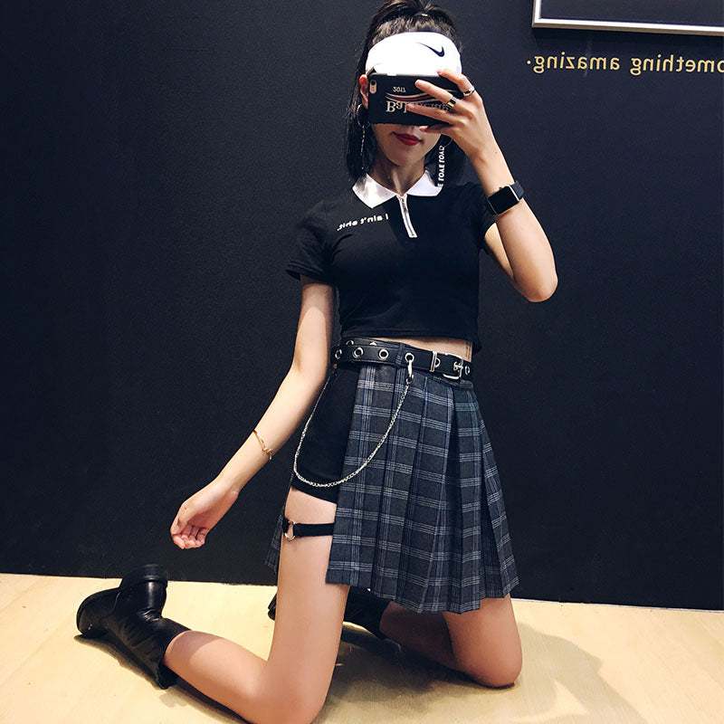 HIGH WAIST IRREGULAR PLAID SKIRT BY61074