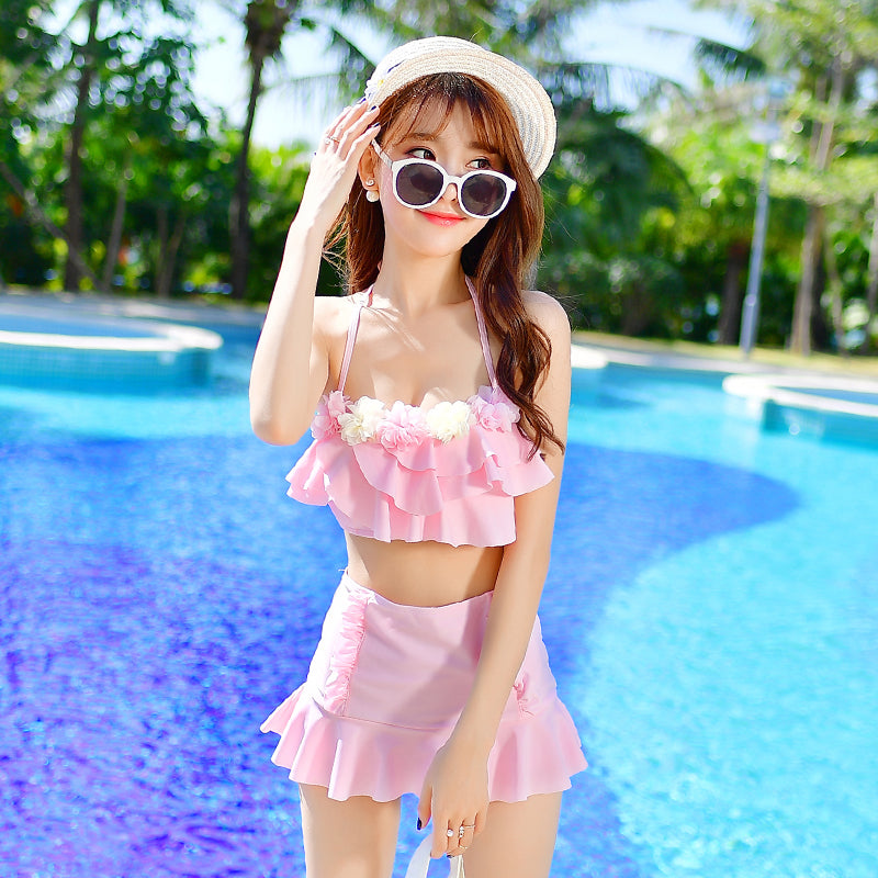 HOT FALBALA STUDENT TWO-PIECE SWIMSUIT BY66003