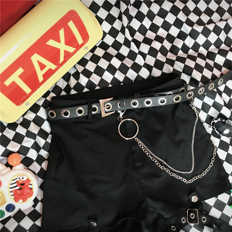 HARAJUKU VINTAGE METAL RING PUNK HIP-HOP BLACK BELT BY18004