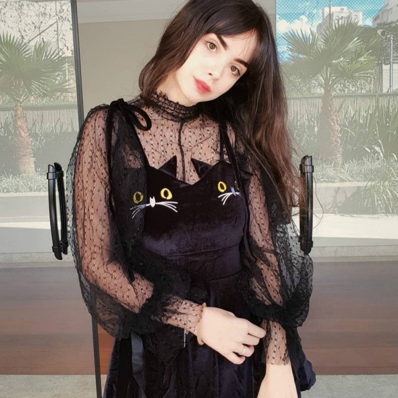 LACE LOOSE TOP+CAT EMBROIDERIED DRESS BY71076