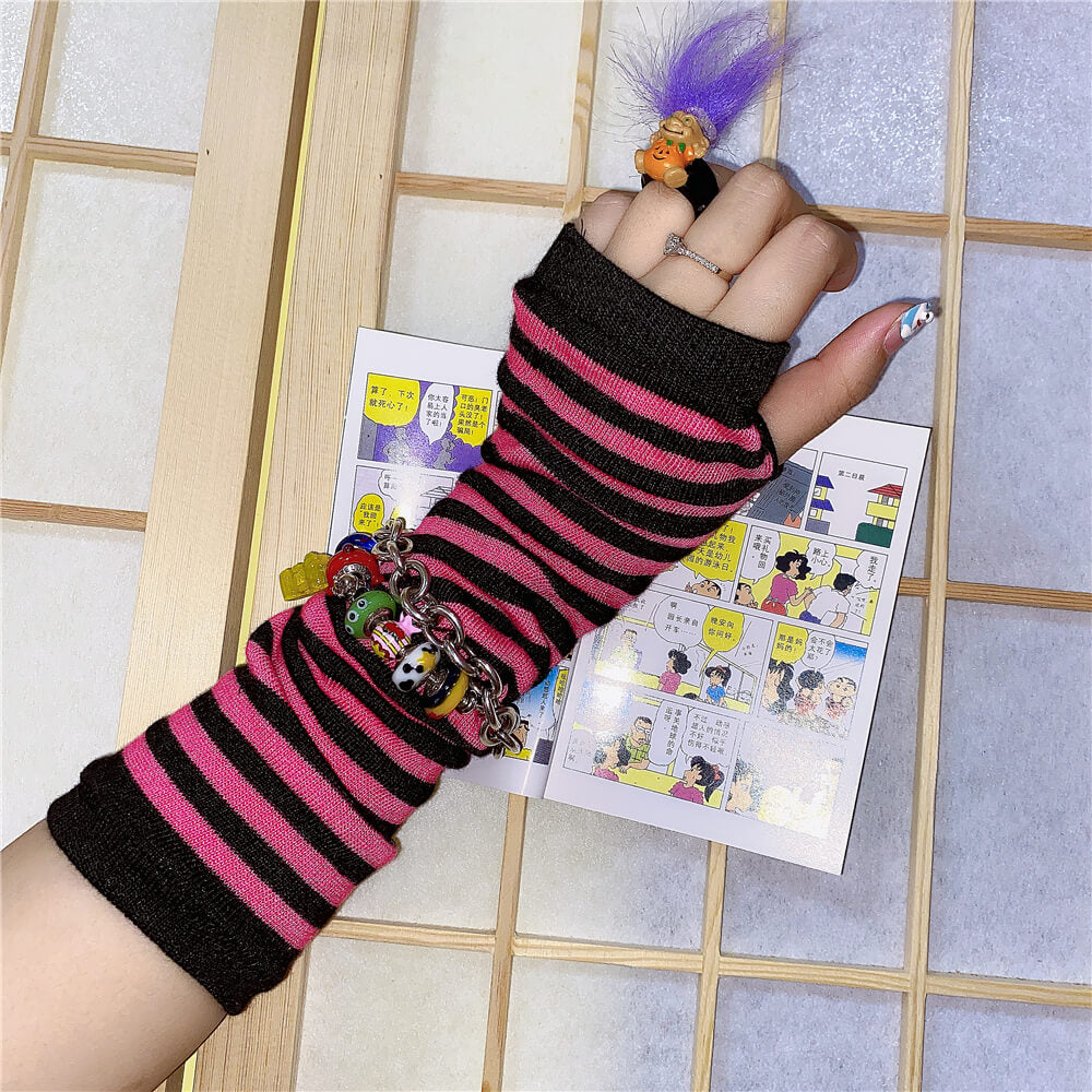 INS HARAJUKU FASHION STRIPED GLOVES BY77731