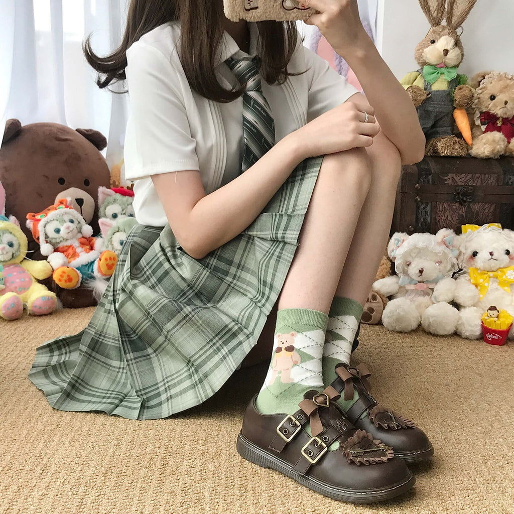 JAPANESE CUTE BEAR JK SOCKS BY52204
