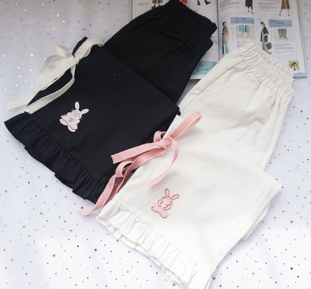 JAPANESE CUTE BUNNY EMBROIDERY WIDE-LEG PANTS BY77705