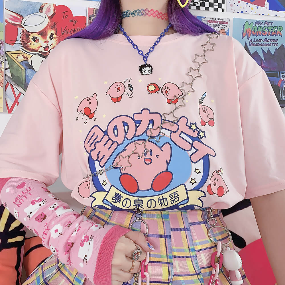 JAPANESE CUTE CARTOON PASTEL PINK T-SHIRT BY07281