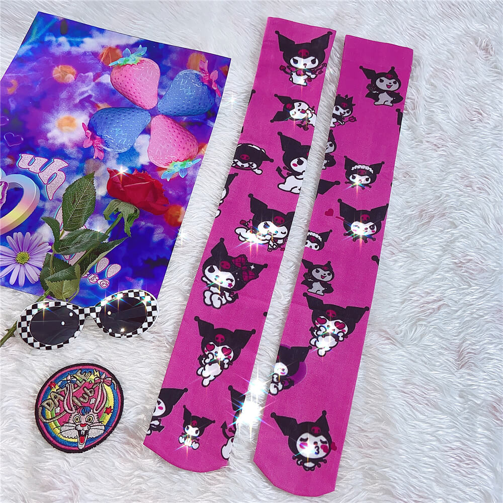 JAPANESE HARAJUKU CARTOON INS SUMMER SLIM KNEE SOCKS BY77734