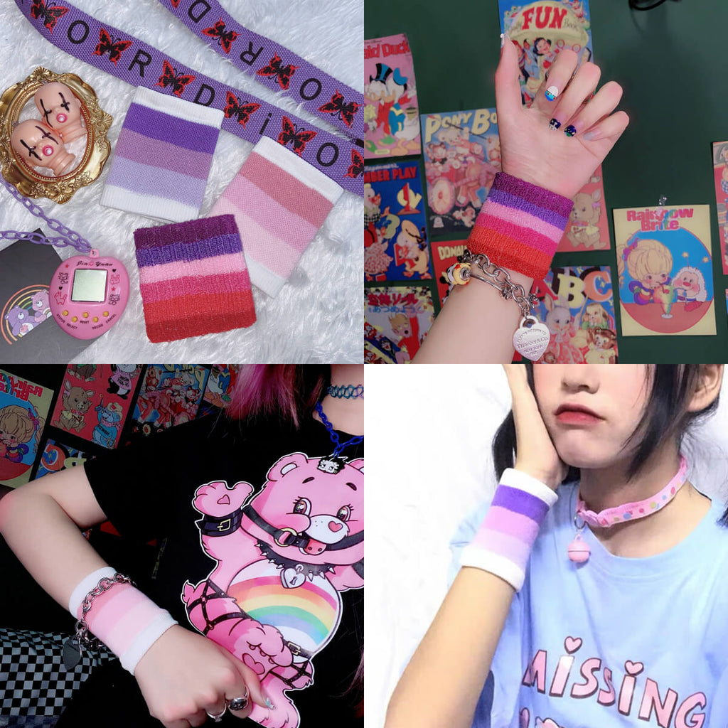 JAPANESE HARAJUKU INS RAINBOW STRIPE WRIST BAND BY77732
