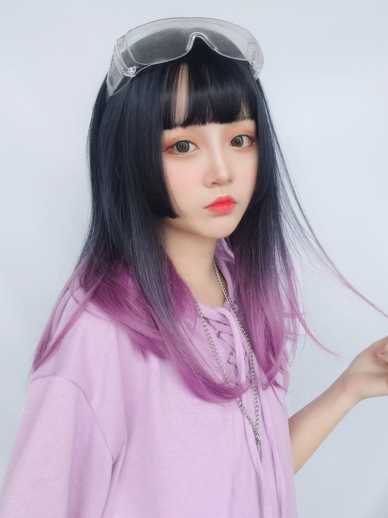 JAPANESE LOLITA HIME CUT GRADIENT PURPLE COS STRAIGHT WIG BY61106
