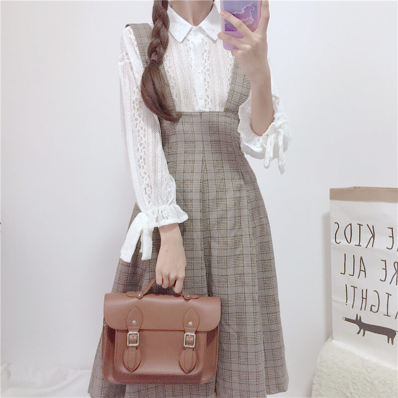 JAPANESE SWEET SOFTGIRL LACE SHIRT & PLAID SUSPENDERS DRESS BY98052